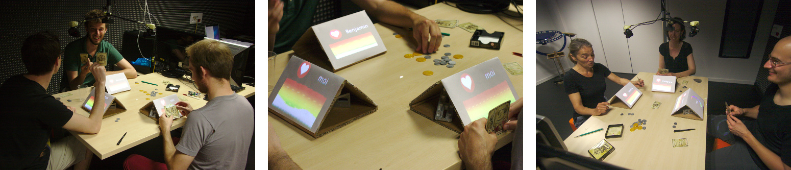 "Remote heart rate sensing and projection are used to augment the traditional board game ""Coup""."
